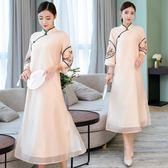 改良旗袍秋新長袖年輕少女中國風女裝端莊大氣寬鬆連身裙洋裝