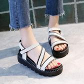 鞋子復古涼鞋 軟妹簡約百搭鬆糕鞋 厚底鞋【多多鞋包店】z7634