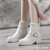 中大尺碼馬丁靴女白色秋冬季新款英倫風襪子瘦瘦靴粗跟短靴女單鞋 DR32450【男人與流行】