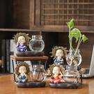 花瓶透明玻璃插花創意水養植物花器客廳裝飾...