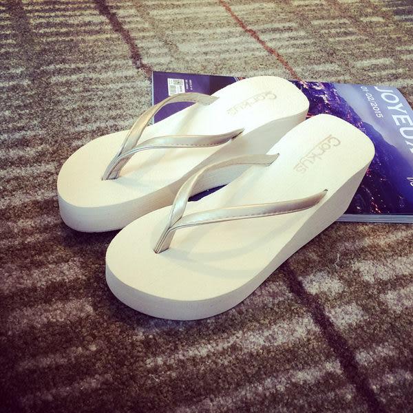 梨卡★現貨 - 厚底拖鞋 高跟中跟楔型-夏季新款[沙灘高底涼鞋單鞋]防滑沙灘拖人字拖S47