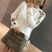 春秋新款針織衫毛衣女裝韓版寬鬆圓領純色繡花套頭打底衫上衣
