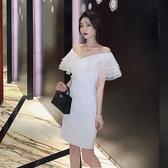 小禮服名媛氣質歐根紗v領聚會禮服小心機夏季2020新款顯瘦白色連身裙女 衣間迷你屋
