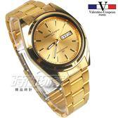 valentino coupeau 范倫鐵諾 都會風格 日期 星期 顯示窗 不鏽鋼 防水手錶 男錶 金色 石英錶 V62188S金釘
