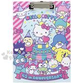 〔小禮堂〕Sanrio大集合 木質文件夾板《粉藍.45週年》資料夾.板夾.菜單夾 4710150-21282
