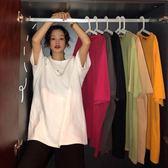 原宿寬鬆T恤女bf中性百搭簡約圓領短袖春夏素色中長款基礎打底衫 【6月特惠】