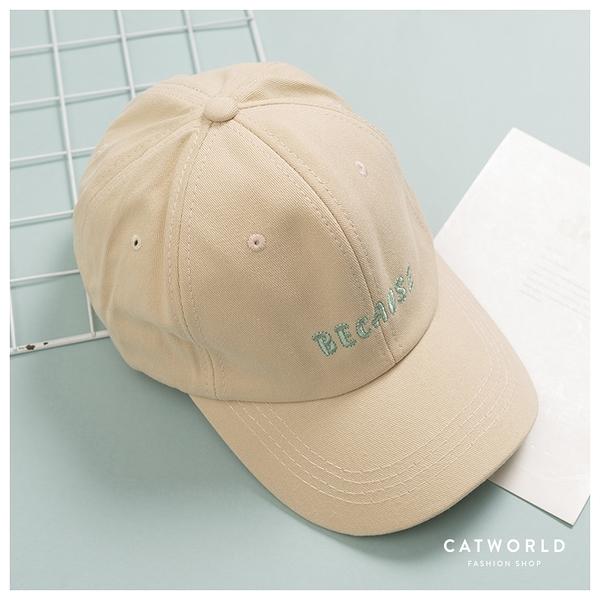 Catworld BECAUSE文字刺繡棒球帽【18003706】‧F