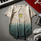 亞麻衫 夏季漸變色亞麻短袖T恤男士日系復古體恤上衣寬鬆圓領棉麻半袖潮 小艾時尚