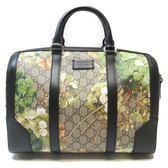 GUCCI 古馳 棕色PVC天竺葵花朵圖案波士頓包 手提肩背包 Bostonbag 【BRAND OFF】