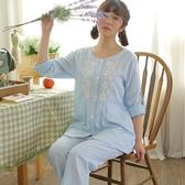 睡衣-長袖蕾絲花邊優雅圓領棉質女居家服套裝2色73ol47【時尚巴黎】