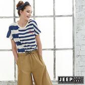 【JEEP】女裝條紋短袖T恤-藍色