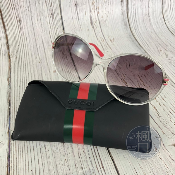 BRAND楓月 GUCCI古馳 透明 造型 粉色鏡腳 墨鏡 太陽眼鏡 配件 精品