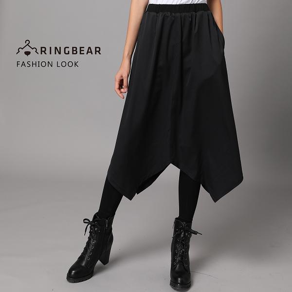 褲裙--個性氣質假兩件不規則下襬雪紡裙彈性貼身打底褲(黑M-5L)-P133眼圈熊中大尺碼