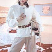 毛衣-兔毛圓領寬鬆鏤空純色女針織衫4色73uc43【巴黎精品】