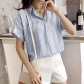 襯衫短袖女大碼寬鬆上衣棉麻條紋襯衣 衣普菈