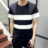 短袖T恤 純棉-時尚簡約撞色條紋男上衣2色73ms1【巴黎精品】