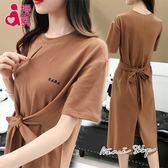孕婦裝 MIMI別走【P12026】美好舒適款 純色綁帶棉質哺乳裙 長洋裝