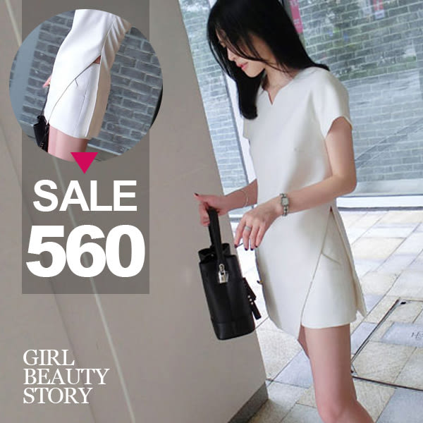 SISI【E8020】現貨超美修身曲線V領短袖不規則裙襬雪紡上衣+雪紡短褲套裝