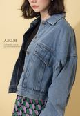 A-SO-BI韓系-翻蓋大口袋刷白微短版牛仔外套【R20244-01】