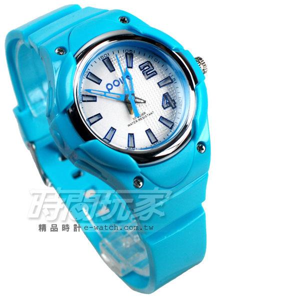 Polit 休閒造型運動錶 霓虹夜光 童錶 女錶 兒童手錶 學生錶 PO995淺藍