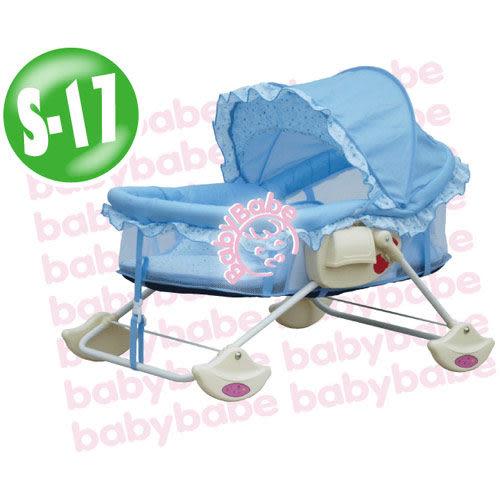 【奇買親子購物網】BabyBabe 多功能日式搖床-藍色小花/奶油黃