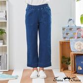 【Tiara Tiara】百貨同步新品aw  鬆緊腰牛仔褲(深藍/淺藍)