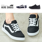 [Here Shoes]休閒鞋-跟高2.5CM 布面休閒鞋 純色百搭 簡約款綁帶布鞋-KHGV-8526