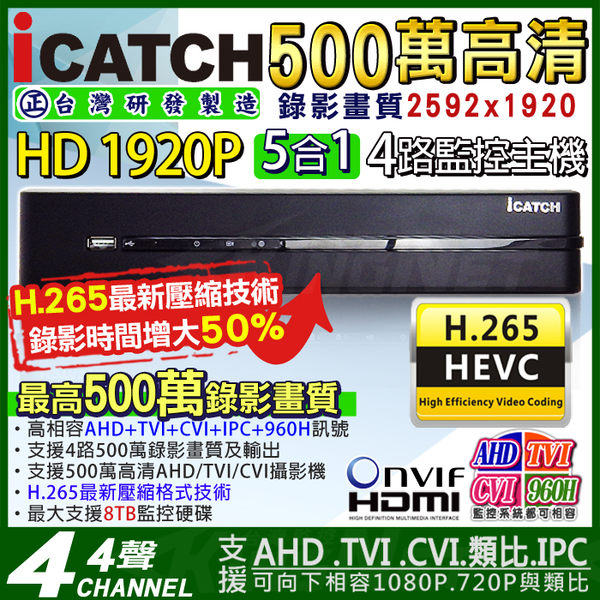 【台灣安防】可取ICATCH H.265 AHD 4路DVR 500萬  監視器主機 1440P 4MP/1080P/720P/960H