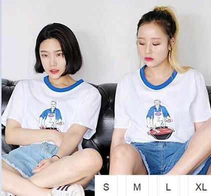 EASON SHOP(GU1341)白色閨密裝卡通印刷圓領短袖T恤S-XL白棉T女上衣男女情侶裝閨密裝日韓原宿風