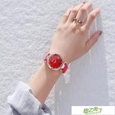 新品潮牌時尚防水鉆星空手錶女磨砂皮帶石英網紅女錶抖音同款 【降價兩天】