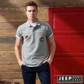 【JEEP】時尚美式貼布素面短袖POLO衫 (灰)