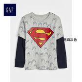 Gap男嬰幼童 DC?正義者聯盟系列 印花純棉疊穿長袖T恤 357943-亮麻灰色