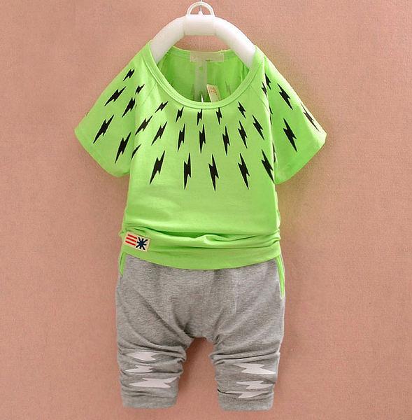 男Baby  可愛閃電舒適套裝(蘋果綠)合身剪裁貼身款