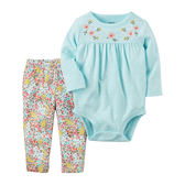 Carter's平行輸入童裝 女寶寶 長袖包屁衣&褲子 淡藍點點【CA121H704】