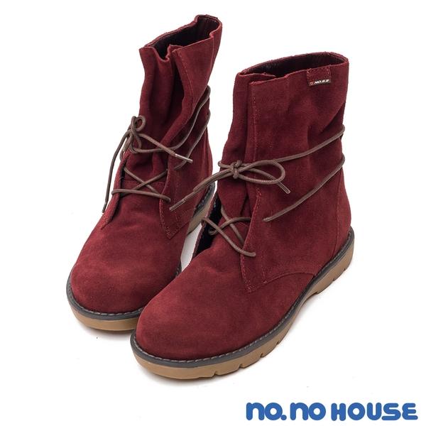 短靴 率性自我真皮綁帶平底靴(紅) * nonohouse【18-8382r】【現貨】