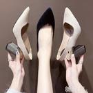 包頭涼鞋 包頭網紅chic涼鞋女春季新款復古方頭高跟鞋粗跟單鞋女后空 韓菲兒