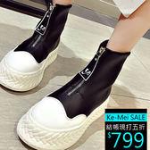 克妹Ke-Mei【ZT54731】重推!歐美時髦黑白撞色字母拉鍊皮革短靴