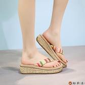 涼拖鞋厚底人字拖女夏時尚防滑夾腳高跟海邊度假沙灘鞋可下水【淘夢屋】