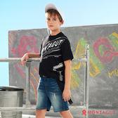童裝男童純棉短袖T恤 夢特嬌 品牌印花款_黑色