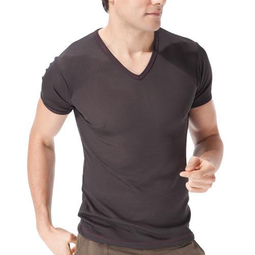 《MORINO》機能休閒吸汗速乾短袖V領衫-黑色