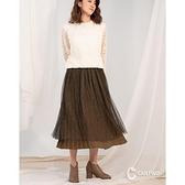 【南紡購物中心】CANTWO雙面穿金屬網紗撞色長裙(共二色)