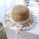 全館83折兒童漁夫帽女童草帽子夏薄款透氣遮陽涼帽女寶寶公主出游防曬沙灘