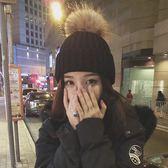 帽子女冬季正韓百搭學生毛球毛線帽潮冬天正韓時尚針織帽加厚保暖