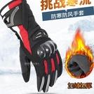 新款冬季摩托車碳纖維手套加厚保暖防水防風...