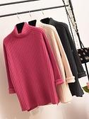 毛衣2021年新款女爆款高領寬鬆外穿慵懶中長款加厚紅色內搭打底衫 貝芙莉