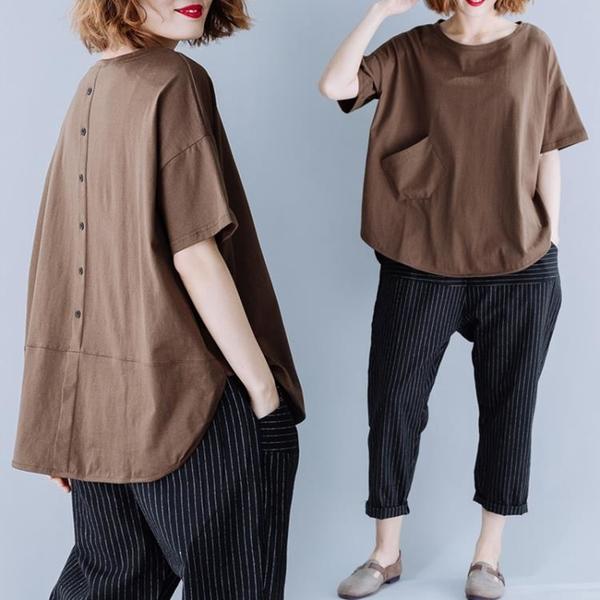 大碼寬鬆顯瘦遮肚上衣女胖mm休閒減齡不規則圓領短袖T恤夏裝新款 中大尺碼T恤