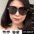 OT SHOP太陽眼鏡‧抗UV400墨鏡 貓眼框形 顯小臉 漸層色百搭 韓版太陽眼鏡  黑色/酒紅色‧ U114