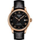 TISSOT 天梭 Le Locle 80小時機械錶-黑x玫塊金框/39mm T0064073605300
