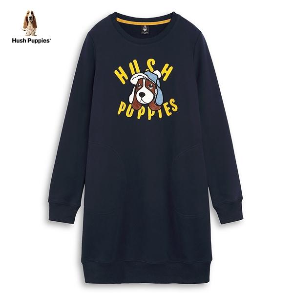 Hush Puppies 洋裝 女裝毛線字母刺繡狗頭內刷毛洋裝