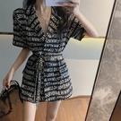 時尚字母印花繫帶收腰西裝外套女2020夏季新款韓版中長款短袖上衣 韓國時尚週